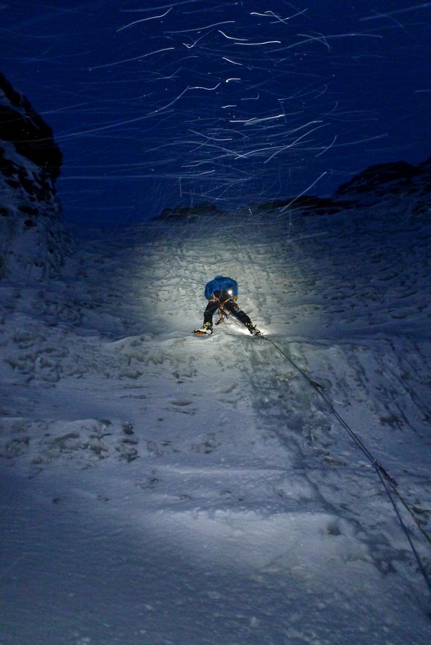 Jóhann ice climbing in Svalbard