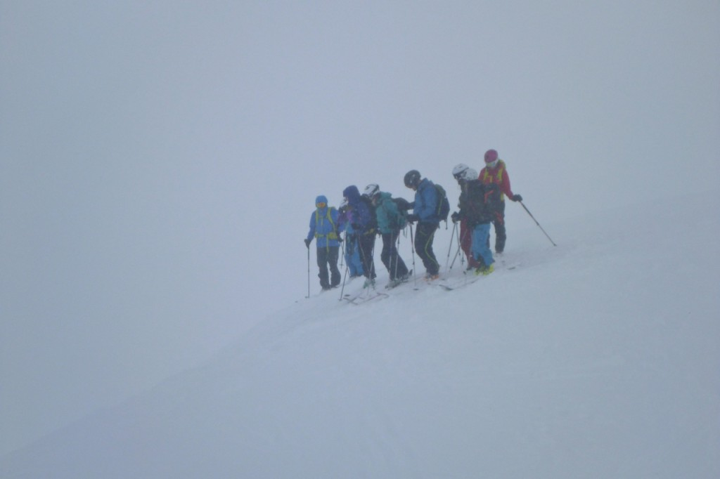 Skiing in the whiteout on Daudmannen (768m)