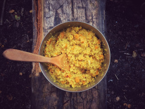 Delicious camp cooking, couscous sweet-potato curry